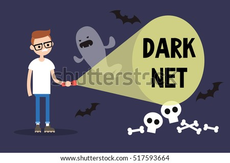 Conceptual illustration. Young nerd exploring the Dark net / cartoon style editable flat illustration, clip art