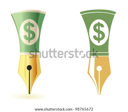 conceptual image: drawing or writing for money