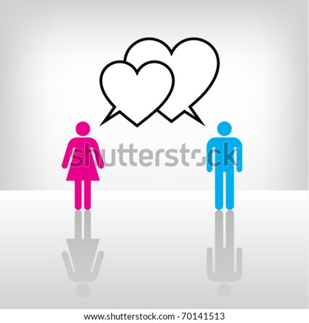 Conceptual image of Man and Woman love talk. Vector.