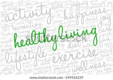 Conceptual image of tag cloud containing words related to active life and healthy lifestyle. Words