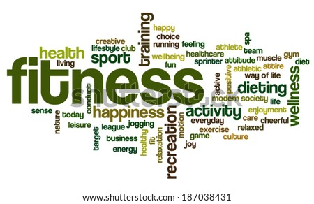 Conceptual image of tag cloud containing words related to fitness, recreation, sports and healthy lifestyle
