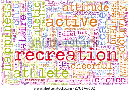 Conceptual image of tag cloud containing words related to healthy lifestyle. Word \