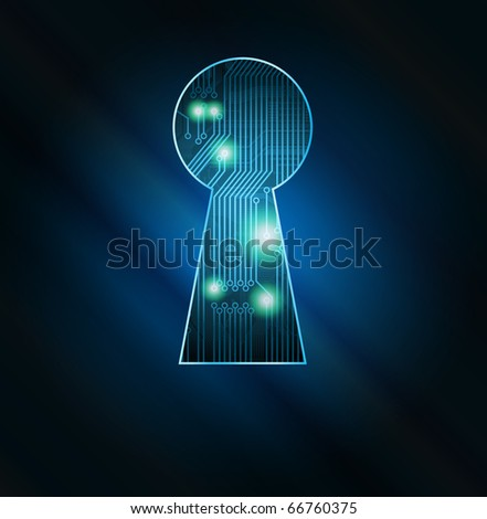 Conceptual key hole with circuit board fragment vector illustration. Eps10