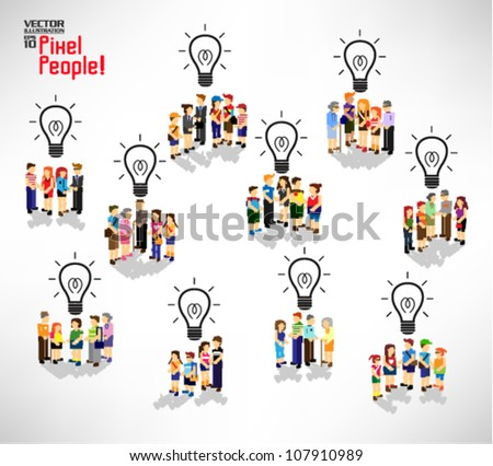 conceptual light bulb with a lot of people icon vector design