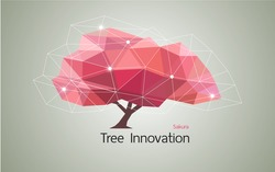 Conceptual Low polygon geometric trees. Abstract vector Illustration, Background design, pink sakura