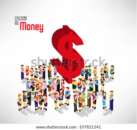 conceptual money symbol with a large group of people vector design