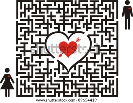conceptual of love maze boy is