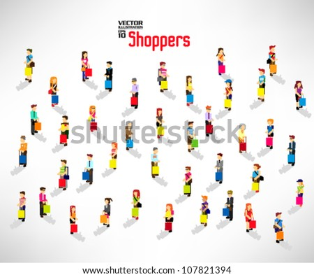 conceptual people shopping with bags vector icon design