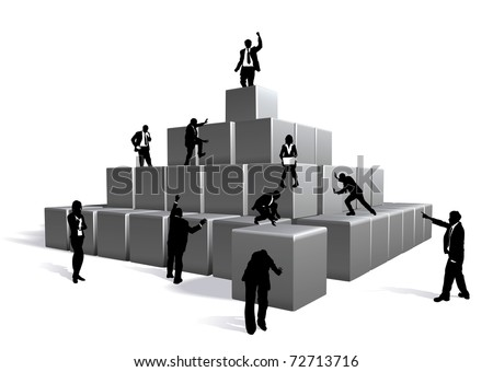 Conceptual piece. Business people building with blocks
