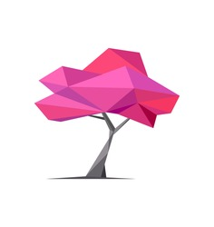Conceptual polygonal tree. Abstract vector Illustration, low poly style. Stylized design element. Background design for poster, flyer, cover, brochure. Logo design. Sakura, spring concept pink tree
