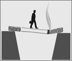 Conceptual poster showing that Smoking leads to death and encourages a healthy lifestyle