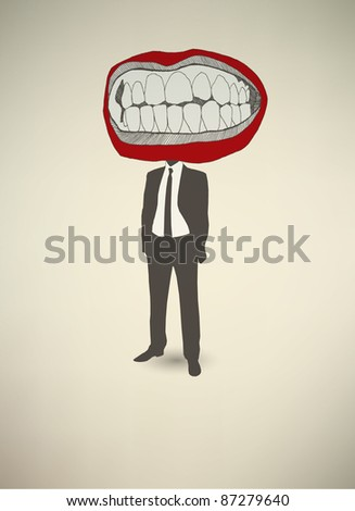 Conceptual poster. The businessman Mouth