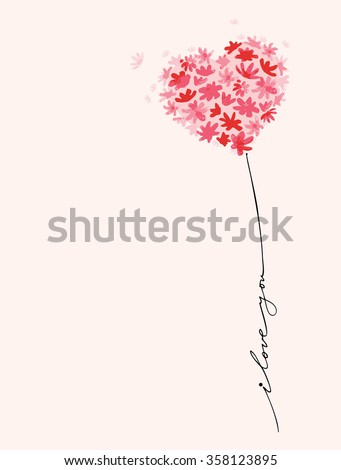 Shutterstock Conceptual romantic card with flowers heart balloon. Vector Illustration