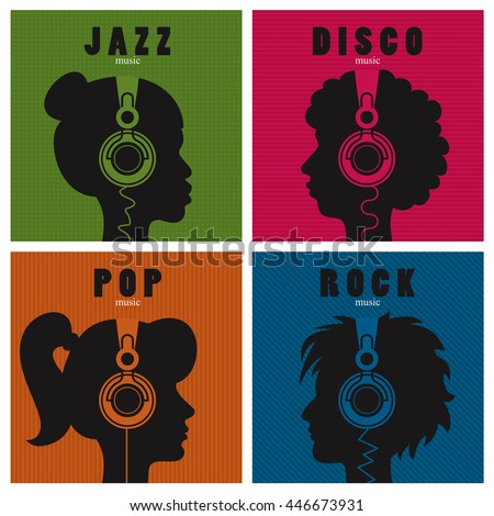 Conceptual set of head profiles with headphones icons; people listening to different genres of music.