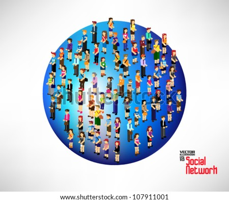 conceptual social network with many people icon on globe vector design