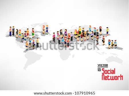 conceptual social network with many people icon on map vector design