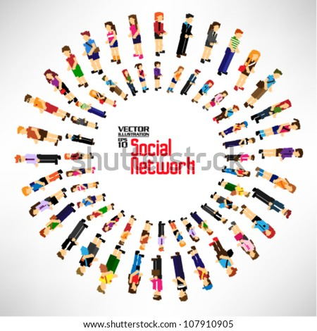 conceptual social network with many people icon vector design