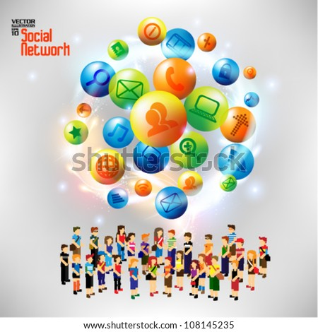 conceptual social networking and people icon vector design