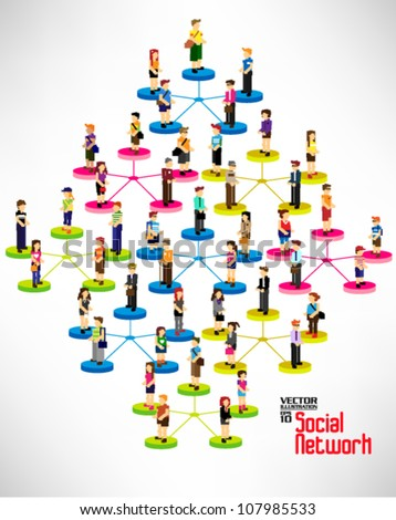 conceptual social networking with people icon vector design