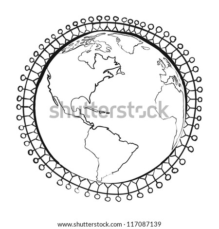 Conceptual symbol of multiracial human surrounding the Earth globe. Unity, world peace, humanity concept sketch vector