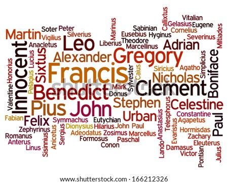 Conceptual tag cloud containing names of Roman Catholic popes throughout history, with name of current Pope Francis emphasized