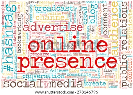 """Conceptual tag cloud containing words related to social media, marketing, blogs, social networks and Internet. Words """"online presence"""" emphasized."""