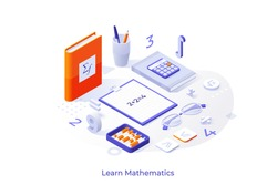 Conceptual template with books or textbooks, abacus, calculator, equation, numbers, figures and formulas. Scene for mathematics learning course, studying math. Modern isometric vector illustration.