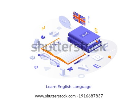 Conceptual template with books or textbooks, notebook, glasses, letters and UK flag. Scene for english learning, studying foreign language, translation course. Modern isometric vector illustration. Сток-фото ©