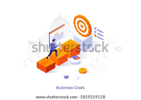 Conceptual template with businessman walking towards target or man ascending career ladder. Scene for business goal achieving, development, progress or growth. Modern isometric vector illustration.