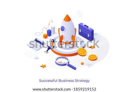 Conceptual template with businesswoman working on laptop computer, spacecraft, calculator, briefcase. Scene for successful business strategy, startup project launch. Isometric vector illustration.
