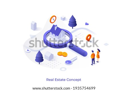 Conceptual template with couple standing at house on giant magnifier. Scene for search for real estate, home to buy, property for sale. Modern isometric vector illustration for online service.