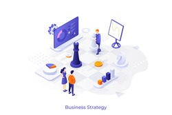 Conceptual template with diagrams or charts and people playing chess on giant board. Scene for business strategy, market competition tactics. Modern isometric vector illustration for website.