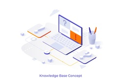 Conceptual template with exclamation mark and interrogation point connected to laptop computer. Scene for knowledge database, internet search or browsing data online. Isometric vector illustration.