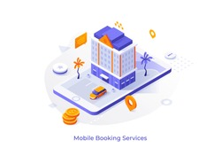 Conceptual template with giant smartphone, building, dollar coins. Modern isometric vector illustration for advertisement of touristic mobile application or online hotel booking service website.