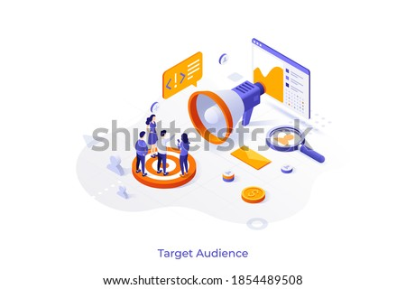 Conceptual template with group of consumers or customers and giant megaphone. Scene for target audience marketing, market research. Modern colorful isometric vector illustration for advertisement.