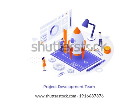 Conceptual template with group of people preparing spacecraft for launch, blueprint. Startup project development team, teamwork. Modern isometric vector illustration for website.