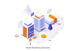 Conceptual template with hotel buildings, customers reviews and five star ratings. Internet booking service, search for accommodation online. Isometric vector illustration for website, webpage.