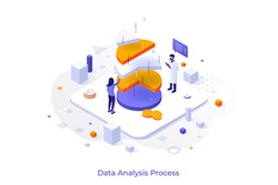 Conceptual template with man and woman analysts analyzing pie chart. Statistical data analysis, financial analytics, market research. Modern isometric vector illustration for website, webpage.