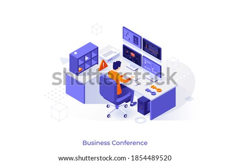 Conceptual template with man looking at displays. Scene for control room solutions, equipment for monitoring or surveillance, internet security service. Modern isometric vector illustration.