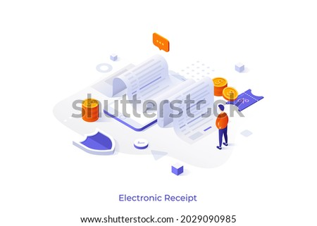 Conceptual template with man looking at paper invoice laying on smartphone. Scene for electronic receipt sent via online mobile application. Modern isometric vector illustration for webpage.