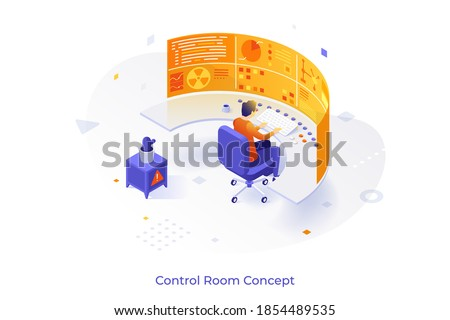 Conceptual template with man sitting at dashboard or control panel and futuristic virtual display. Scene for digital monitoring system of future. Modern isometric vector illustration for website.