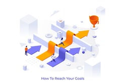 Conceptual template with men and women running along arrows laid over barriers towards champion cup. Scene for people reaching business goal and achieving success. Isometric vector illustration.