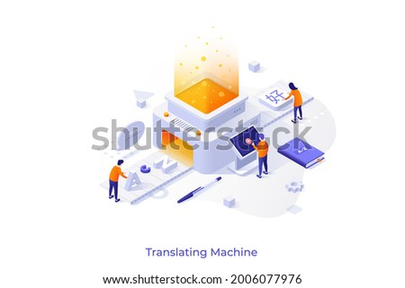 Conceptual template with people putting English letters on conveyor belt and getting Chinese hieroglyphs. Scene for translating machine, online translation. Modern isometric vector illustration.