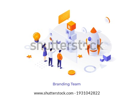 Conceptual template with people standing at screen and spacecraft. Scene for branding team, brand managers working on business project launch. Modern isometric vector illustration for website.