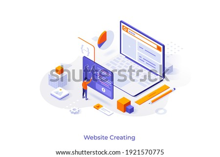 Conceptual template with programmer or coder creating webpage on giant laptop computer. Scene for internet tool for web development, online website builder. Modern isometric vector illustration.