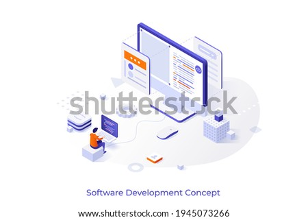 Conceptual template with programmer or coder working on computer. Scene for main stages of software development, front-end and back-end coding. Modern isometric vector illustration for website.