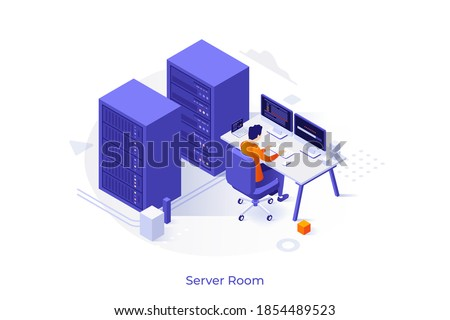 Conceptual template with server racks and operation engineer working at computer. Scene for hardware, equipment and control system for micro data center. Modern isometric vector illustration.