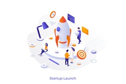 Conceptual template with spaceship or space rocket and group of people preparing it for flight. Startup business project launch. Modern isometric vector illustration for website, webpage, banner.