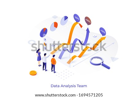 Conceptual template with team of analysts comparing graphs. Business data analysis team, financial forecast, statistical market research. Modern isometric vector illustration for website, banner. ストックフォト ©