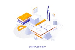 Conceptual template with textbooks, geometric figures and drawings in notebook. Scene for geometry learning course, school discipline studying. Modern isometric vector illustration for website.